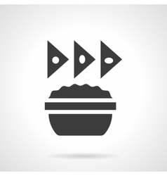 Sauce with chips glyph style icon vector