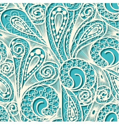 Seamless white lace pattern on blue teal backgroun vector
