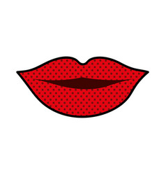 Silhouette of red lips and dotted vector