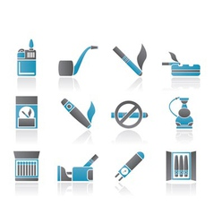 smoking and cigarette icons vector image vector image