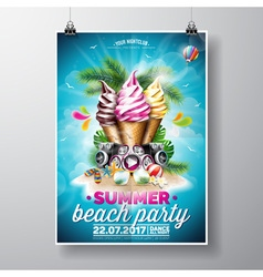 Summer beach party flyer design with ice creams vector