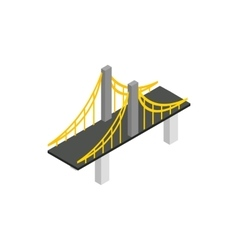 Suspension bridge icon isometric 3d style vector
