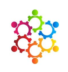 Teamwork Gears Logo vector image vector image