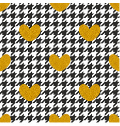 Tile pattern with golden hearts on black and white vector