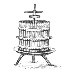 wine press vintage engraved hand drawn vector image vector image