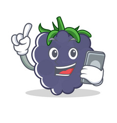 with phone blackberry character cartoon style vector image vector image