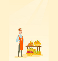 Young caucasian seller giving thumb up vector