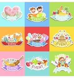 Event template labels set of cute stickers vector