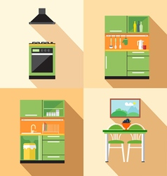 Kitchen home decoration set flat style digital ima vector
