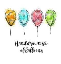 Hand drawn set of balloons with watercolor spots vector