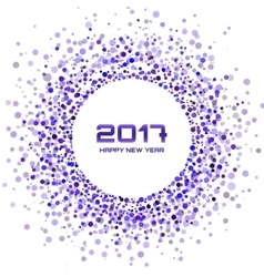 Violet confetti circle frame new year 2017 vector