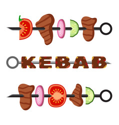 Turkish kebab in flat style cooked delicious vector