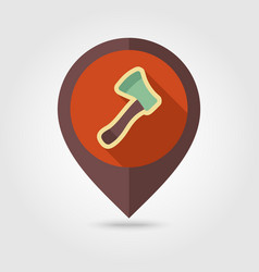 Axe ax hatchet flat pin map icon vector