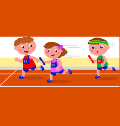 young runners in relay competition vector image