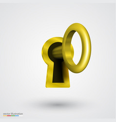 keyhole with key gold vector image