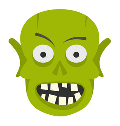 green zombie head icon isolated vector image