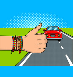 hitchhiking pop art vector image