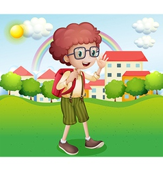 A boy going home from school vector