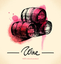 Watercolor hand drawn wine vintage background vector