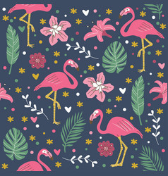 Seamless pattern pink cute flamingo with flowers i vector