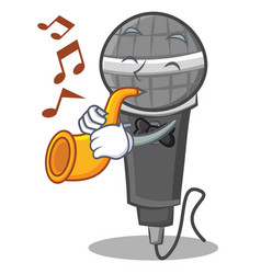 With trumpet microphone cartoon character design vector