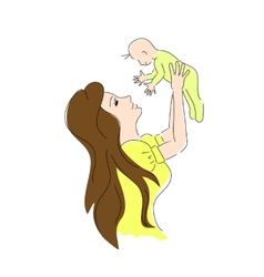 mother baby color Mother day card vector image