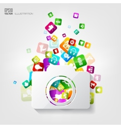 Photocamera icon application buttonsocial media vector
