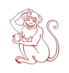Red monkeychinese zodiac signlinear vector