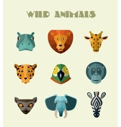 Wild animals icons format vector
