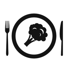 Plate with piece of broccoli icon vector