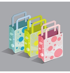 Shopping set bag fashion dot vector