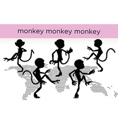Monkey silhouette in various poses vector