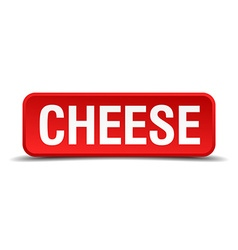 Cheese red 3d square button on white background vector
