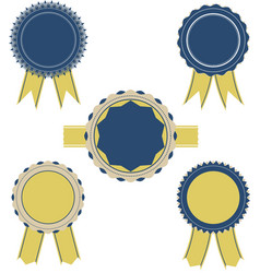 Retro blue and yellow color set of ribbon banner vector