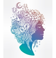 Beautiful elf fairy girl with flowers on her head vector