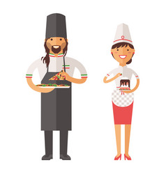 beautiful young chef decorating delicious vector image vector image