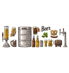 Beer set with two hands holding glasses mug and vector image vector image
