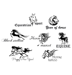 Black horses with decorative scripts vector image vector image