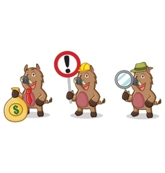 Brown Wild Pig Mascot with money vector image vector image