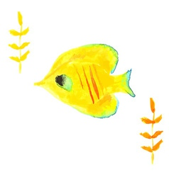 Butterfly fish yellow vector