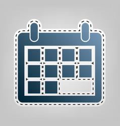 Calendar sign blue icon with vector