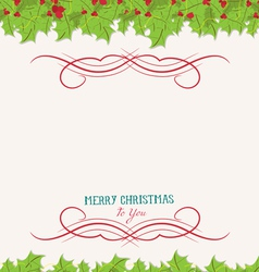 Christmas holly top and bottom border vector