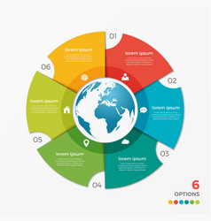 circle chart infographic template with globe 6 vector image vector image