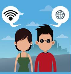 couple wifi connection social media urban vector image