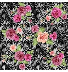 Dark stylish animal pattern with roses vector image