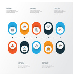 dress colorful outline icons set collection of vector image vector image
