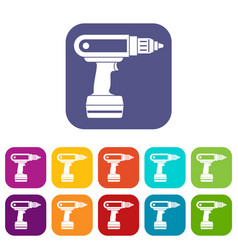 Electric screwdriver drill icons set flat vector
