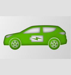 Green hybrid car in paper art style origami vector