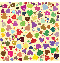 hearts diferent colors round background template vector image