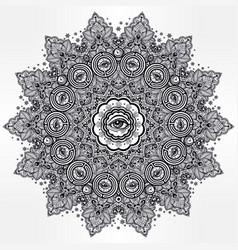 Illuminati eye in ornate round mandala pattern vector